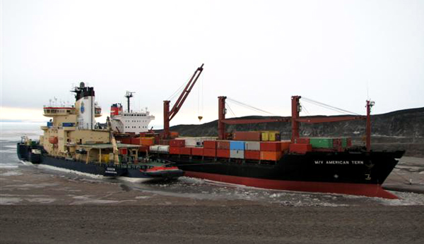 Two ships at McMurdo Station ice pier.