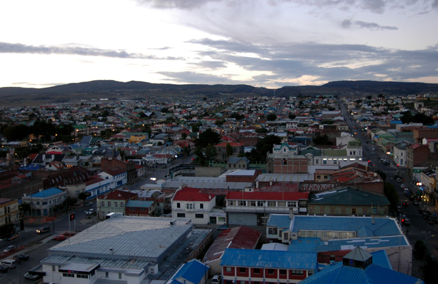 Punta Arenas at twilight.