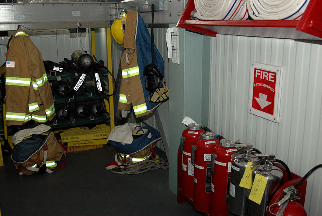 Fire equipment near stairwell.