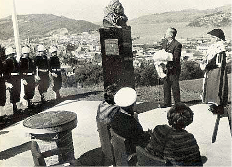Ceremony dedicating bust of Adm. Byrd in New Zealand.