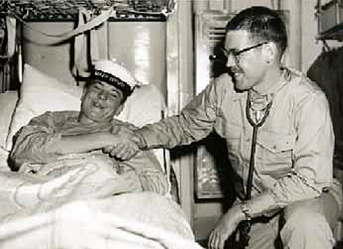 Kiwi sailor and U.S. doctor aboard USS Hissem.