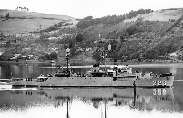 Picket ship in Otago Harbor, New Zealand.