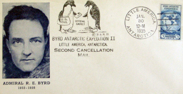 Cover of envelope with picture and artwork.