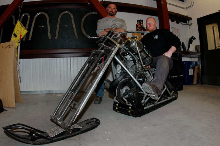 Snowmobile chopper with Bob Sawicki and Toby Weisser.