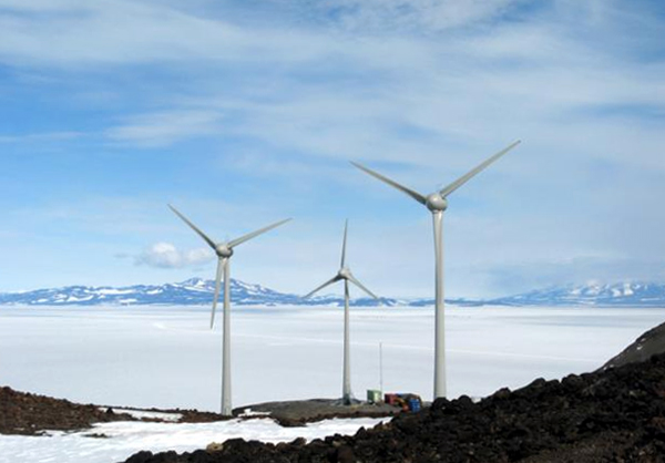 Photo illustration of wind farm overlooking Scott Base.