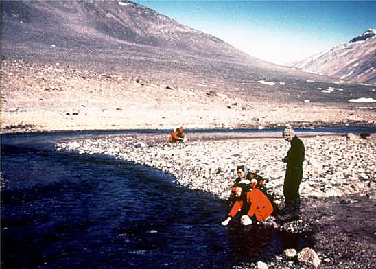 Ohio State team sampling river in the Dry Valleys.