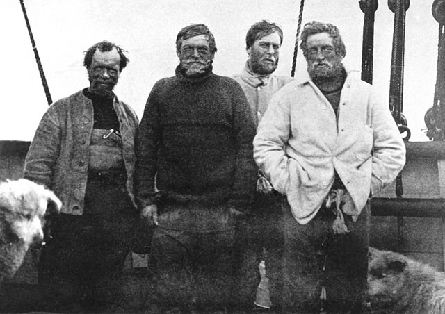 Black and white photo of early Antarctic explorers.