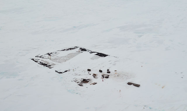 Aerial view of items on ice.