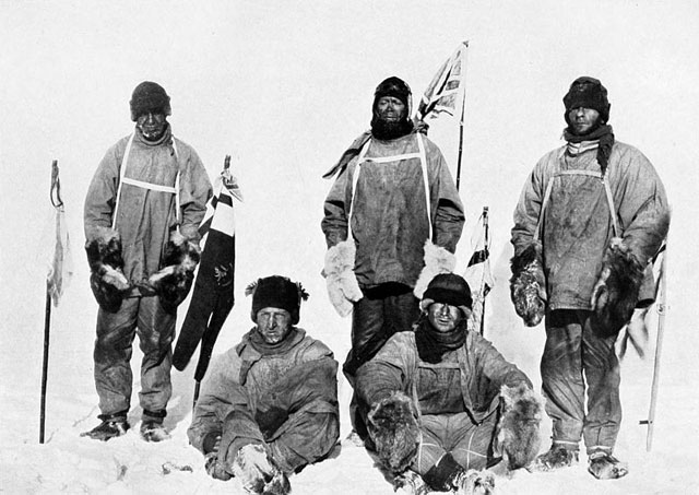 Five people in cold-weather gear.