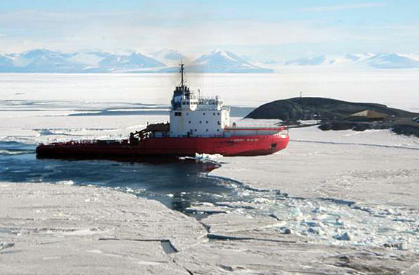 Ship surrounded by ice.