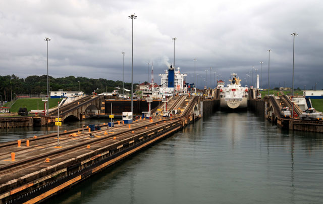 Ships enter the Panama Canal.