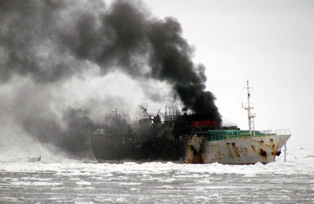 Ship on fire.