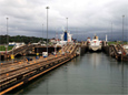 Ships enter the Gatun Locks in Panama Canal.