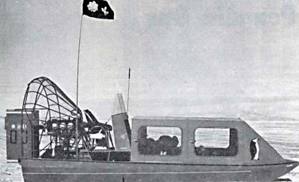 Black and white image of an air boat.