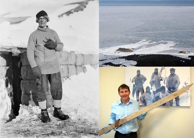 Collage of images featuring historic photo of man in cold weather gear.