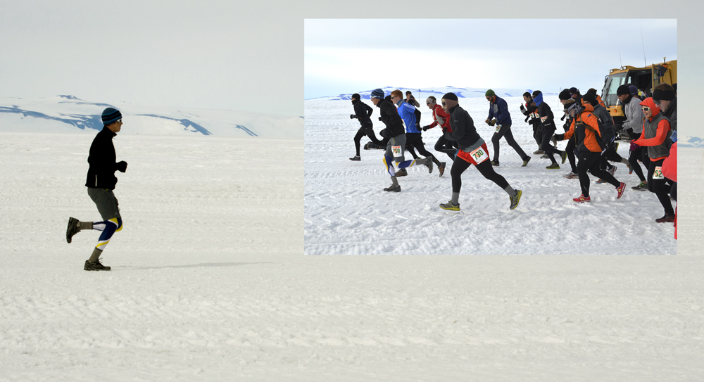 Two separate photos of people running on ice.