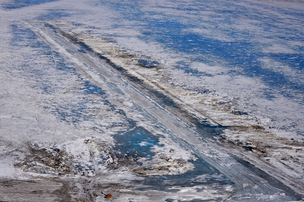 Aerial view of melted ice.