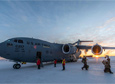Passengers deplane from a C-17 on Aug. 24. The first WinFly flights arrived at McMurdo Station after a four-day delay due to storms.