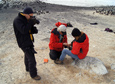 Antarctic Sun editor Peter Rejcek shoots a photo of scientist David Ainley and field assistant Jean Pennycook.
