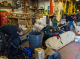 Researchers and support staff unpack gear and return it to the Berg Field Center after a successful field season.