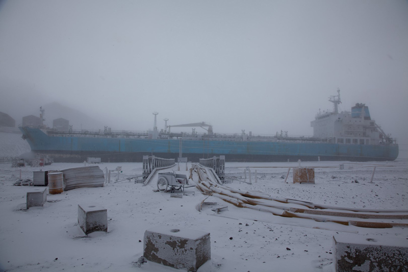The tanker ship USNS Maersk Peary docked at McMurdo Stations ice pier