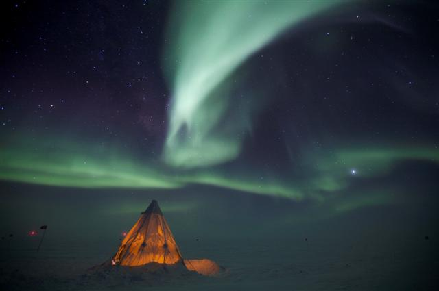Aurora and Scott Tent during South Pole winter.