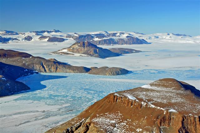 Glaciers and mountains in Antarctica.