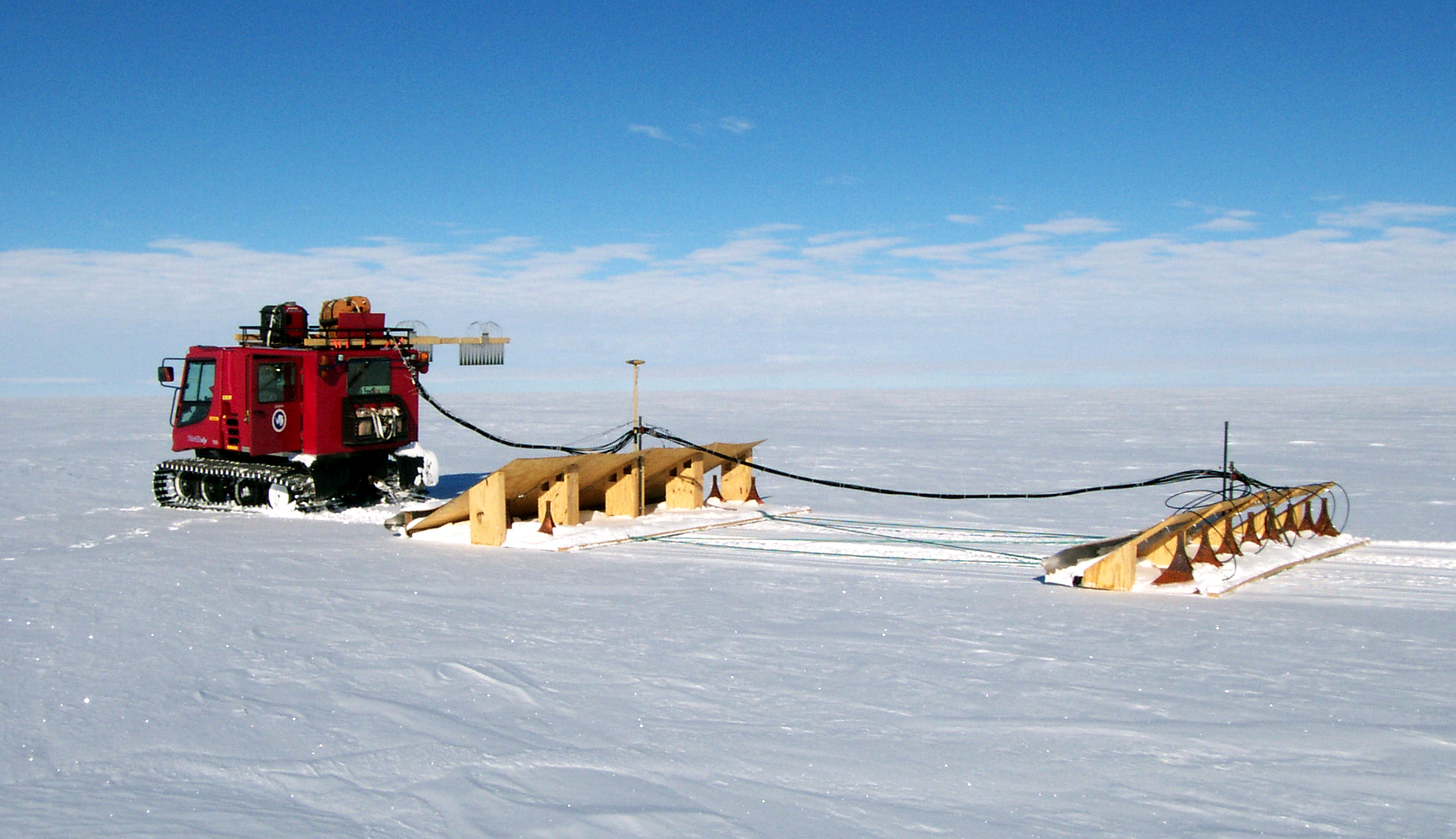 Piston bully pulling radar across West Antarctica.