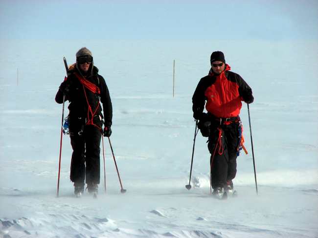 Scientists skiing in Greenland.