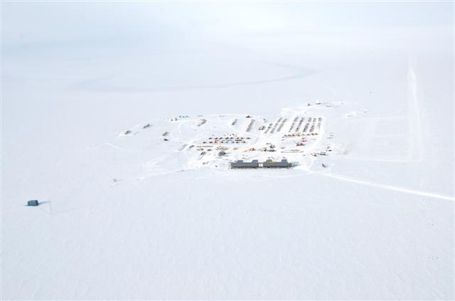 Aerial view of South Pole Station