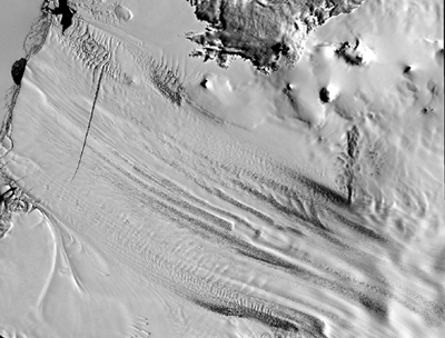 Satellite image of Pine Island Glacier.