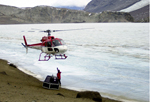 Helicopter hovers near Lake Bonney.