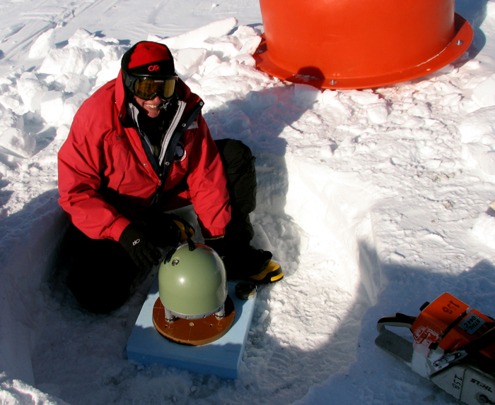 Audrey Huerta working in West Antarctica on POLENET.