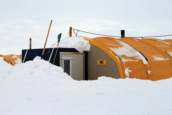 WAIS camp tent drifted over with snow.