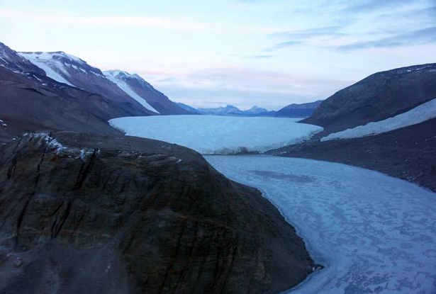 West lobe of Lake Bonney and the Taylor Glacier.