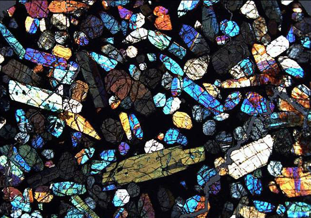 Thin section of a meteorite.