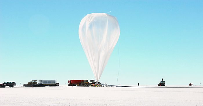 Long-duration balloon being inflated prior to launch.