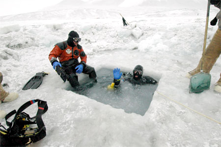 Science divers prepare to make a dive in McMurdo Sound.