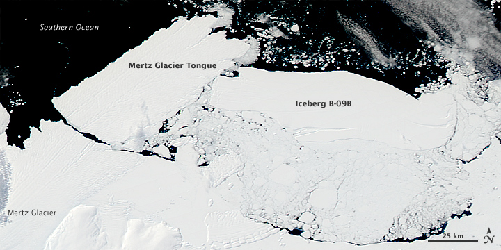 Iceberg dislodges glacier tongue.