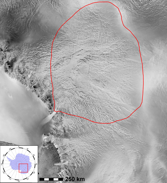 Satellite image of Antarctic region.