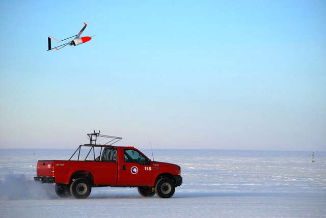 The UAV launches from the roof of a pickup truck.