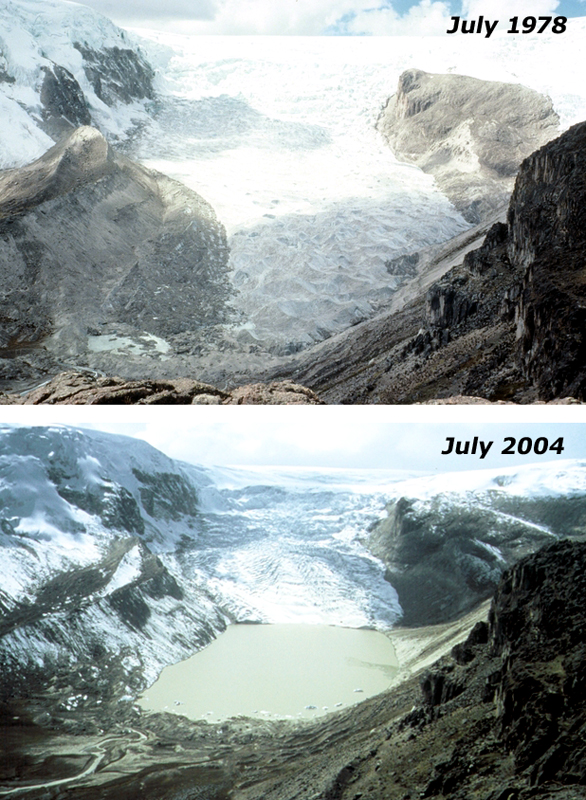 Peruvian glacier changes over time.