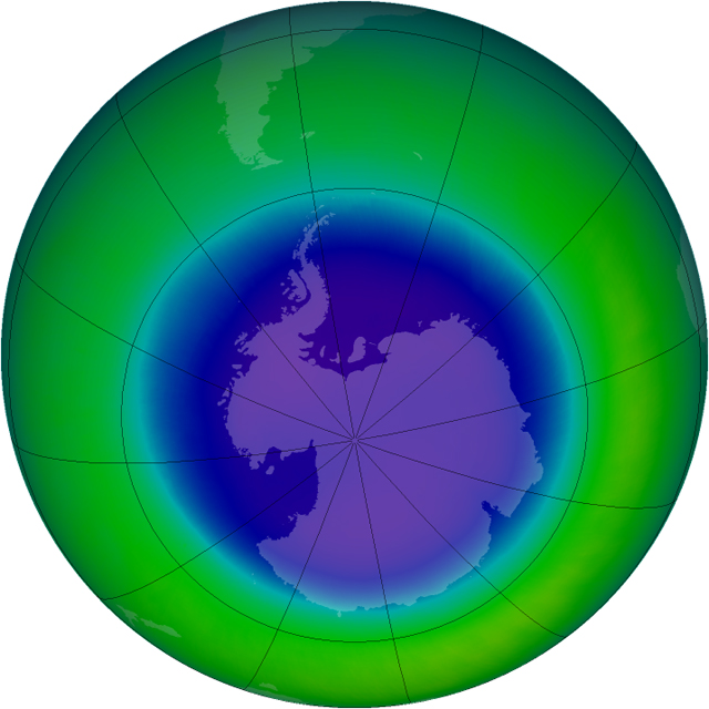 Graphic of ozone hole over Antarctica.