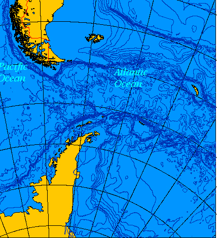 Map showing Drake Passage.