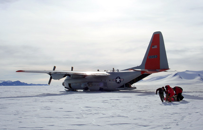 LC-130 delivers science team to field camp.