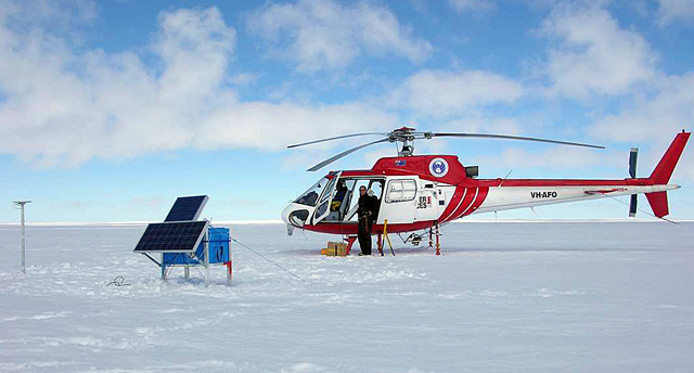 A helicopter on ice.