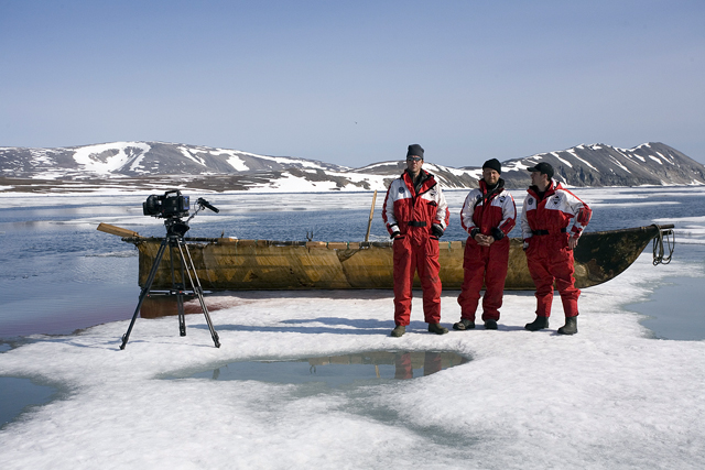 Film crew pauses from shooting walrus hunt.