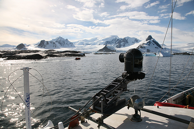 Cineflex camera attached to a boat.