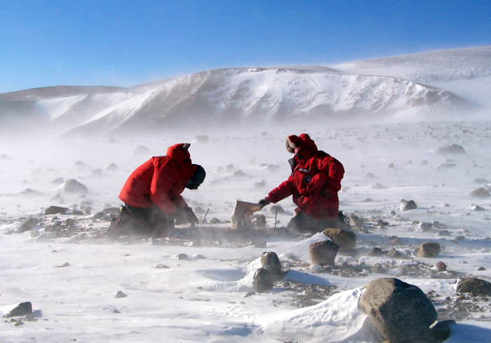 Scientists collect rocks in the Transantarctic Mountains.
