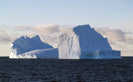 Icebergs afloat in the Ross Sea.